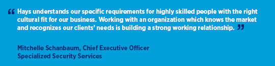 Client testimonial for Hays from Mitchelle Schanbaum, Chief Executive Officer at Specialized Security Services